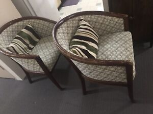Two arm chairs vintage style fabric