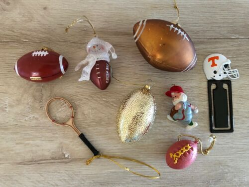MINI SPORTS FOOTBALLS & MORE CHRISTMAS ORNAMENTS  ~ LOT OF 8