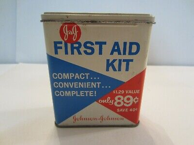 Vintage Johnson & Johnson First Aid Kit Tin with Contents!