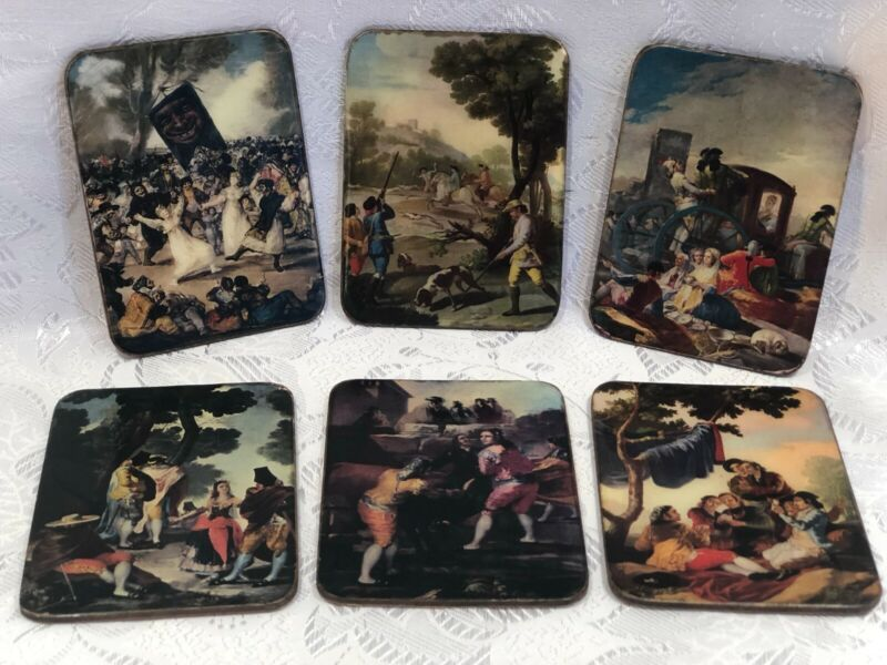 Very Unique Beer Drink Coasters Tile Cards Scenes Of Romanticism Period Set Of 6