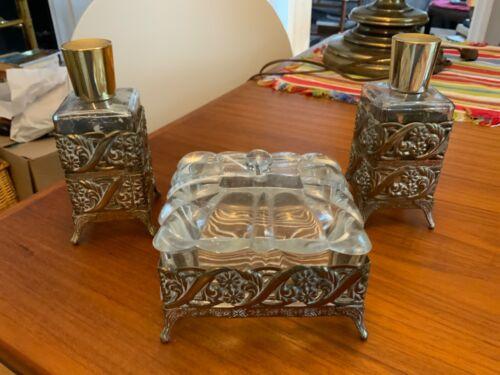 Vintage Glass and Ormolu Filigree Vanity Box with Lid plus 2 Perfume Bottles