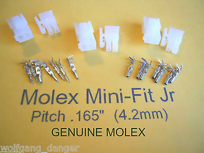 2 Circuit Wire Connector -  3 Complete Molex conn. w/Pins -   Mini-Fit Jr