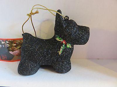 Glitter Black Scottie Dog  glass ornament  by Margaret Cobane
