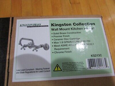 Kingston Brass KS213C Victorian Wall Mount Kitchen Faucet with Cross Handles