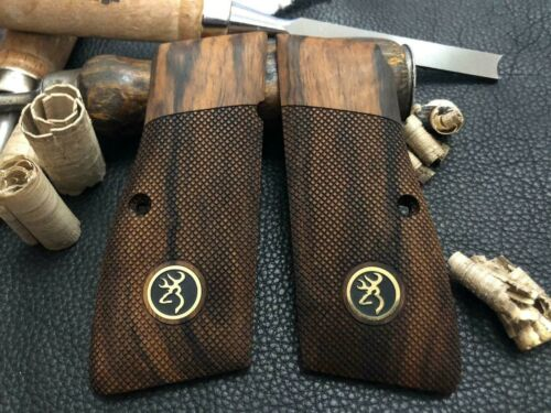 Browning Hi-Power Turkish Walnut Wood Grips with Brass Browning Logo. Checkered.