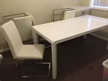 7 piece dining setting, 2 years old, white leather Greta Cessnock Area Preview