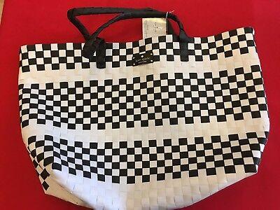 KATE SPADE NY large NWT Woven vinyl Black & White TOTE BAG Shopping Beach Bag