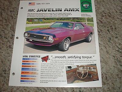 USA 1971-1974 AMC Javelin AMX Hot Cars Muscle Group 4 # 80 Spec Sheet Brochure