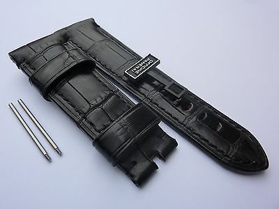 Genuine OFFICINE PANERAI 24mm Black Alligator BAND STRAP for Tang Buckle OEM NEW
