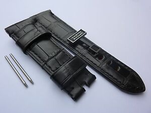 Genuine OFFICINE PANERAI 24mm Black Alligator BAND STRAP for Tang OEM BRAND NEW!