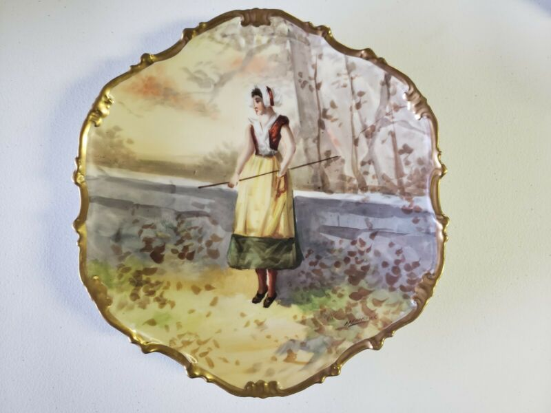 Antique Limoges Hand Painted Artist Signed Charger Plate Henrios, Woman in Park