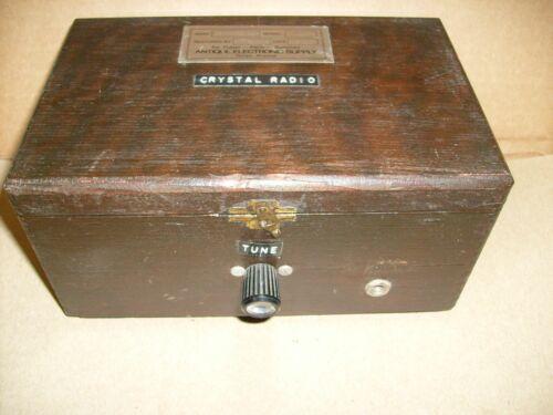 1988 Vintage Crystal Radio Project - Wooden Box - Parts