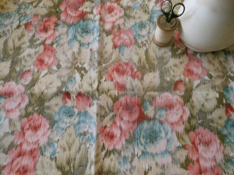 Antique Watered Roses Cotton Ticking Fabric~pink blue taupe brown