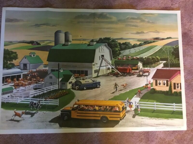 """National Dairy Council Dairy Farm Large Poster 42"""" X 32 """"Rare HTF Unused Vintage"""