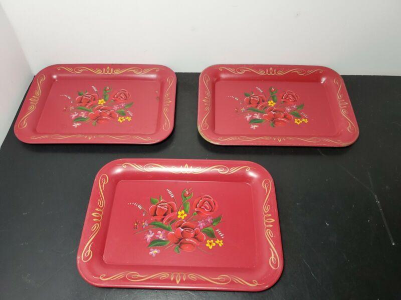 "Vintage Tole Trays Metal Tip Sandwich Bridge Card  5x7""  Red Floral  Set of 3"