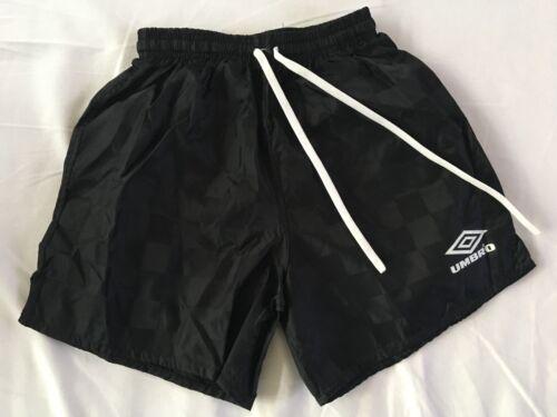 Boys / Girls Vintage Umbro Shorts soccer, swim, Black with White logo, Youth L