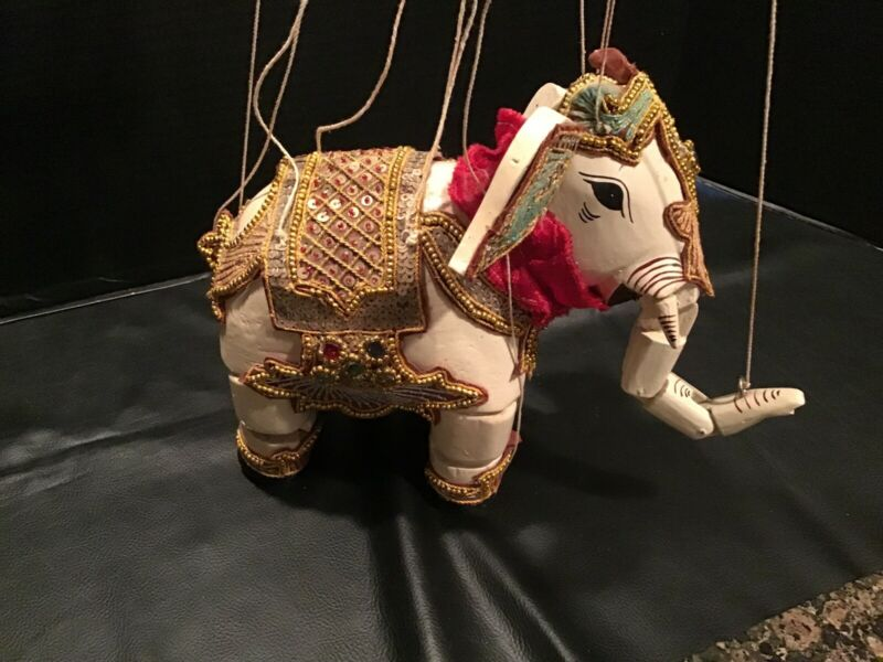 Vintage Hand Carved India Thailand Wooden White Elephant Marionette Puppet