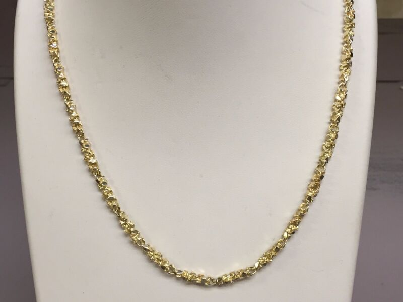 """10kt Solid Yellow Gold Handmade Nugget Link Chain/necklace 20"""" 24 Grams 4 Mm"""