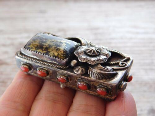 Vtg Old Pawn NAVAJO Unique GOLD in California Black Quartz Cuff Trinket Ring Box