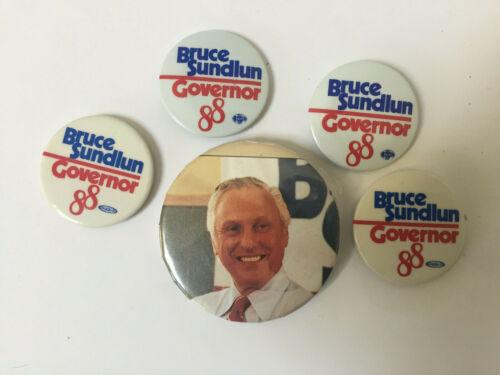 (5) BRUCE SUNDLUN GOVERNOR 88 (RI)POLITICAL CAMPAIGN PIN PINBACK BUTTONS