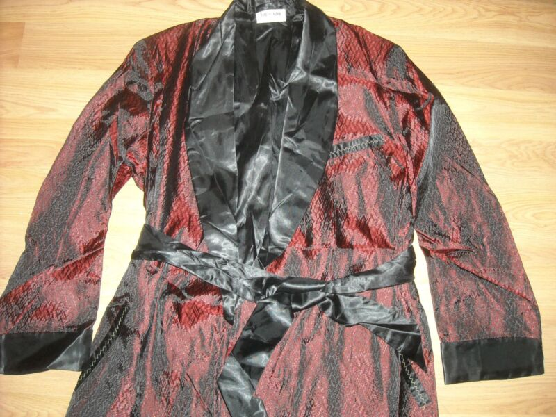 VTG 50S NEW MENS MEDIUM RED BLACK PLAYBOY HOLLYWOOD SMOKING JACKET ROBE