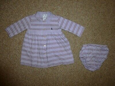 EUC Ralph Lauren Baby Girls Purple Stripe LS Cotton Dress + Diaper Cover-Size 9M