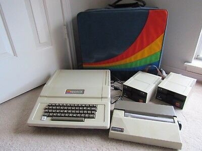 Vintage Apple Computer w/ Rainbow Storage Travel Bag, 2 Disk Drives, Printer Lot