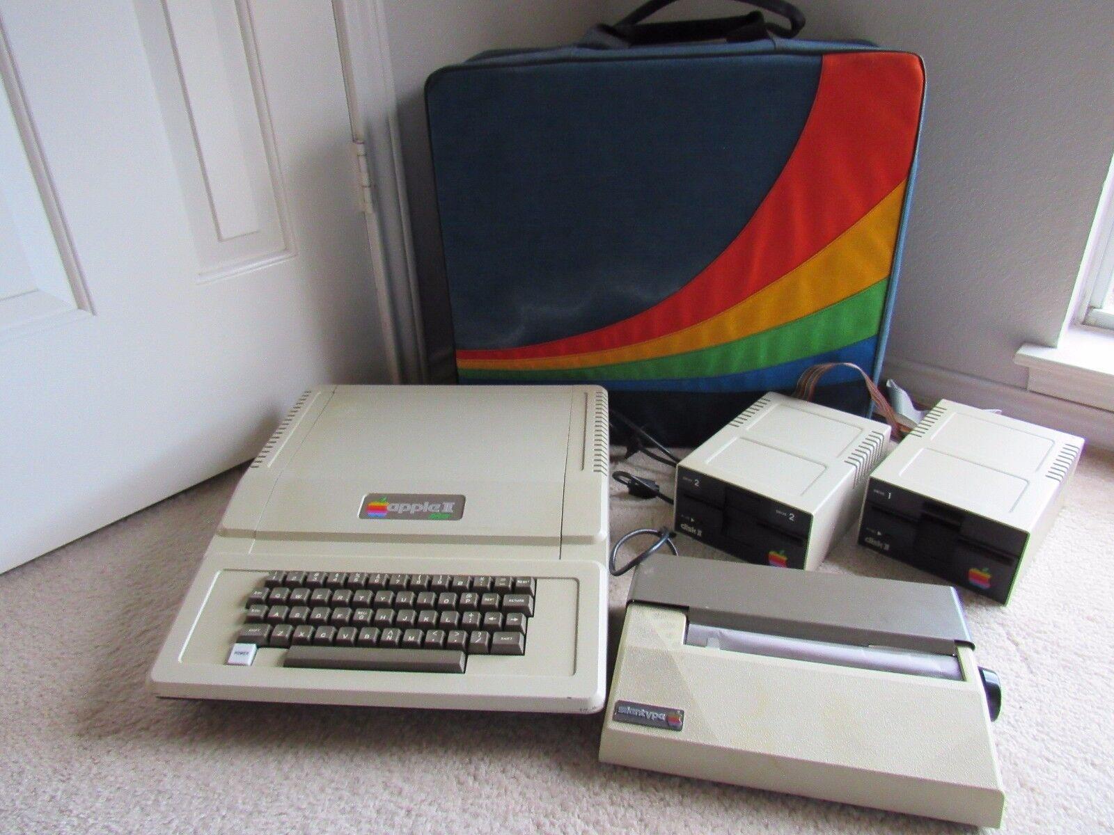 Vintage Apple Computer w/ Rainbow Storage Travel Bag, 2 Disk Drives, Printer Lot