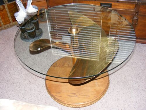 Vintage BRASS PROPELLER / ROUND GLASS TABLE - ABSOLUTELY GORGEOUS!