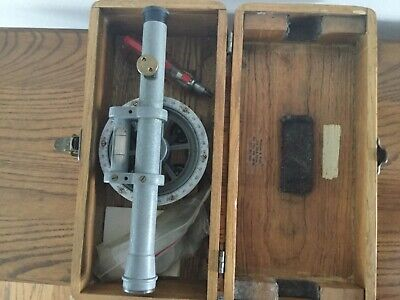 Nice Antique Vtg Early Surveyor Transit Level W Orig Wooden Box