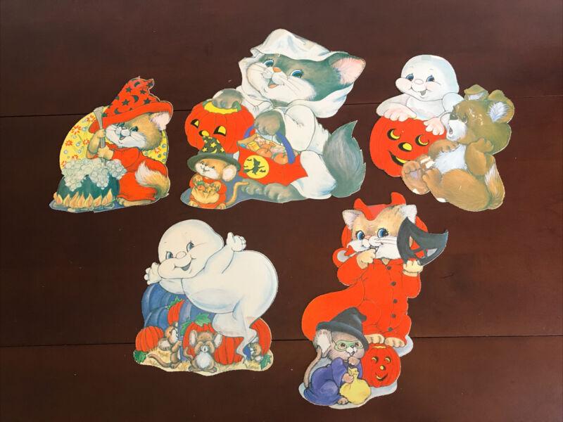 Halloween Decoration Felt Die Cut Cute Cuddly Animals Ghosts Vintage Wall Window
