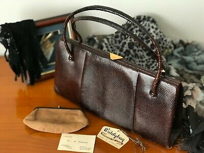 1940s Handbags and Purses History Brown Leather Vintage Wadlybag Handbag 1940's real collectors item $55.92 AT vintagedancer.com