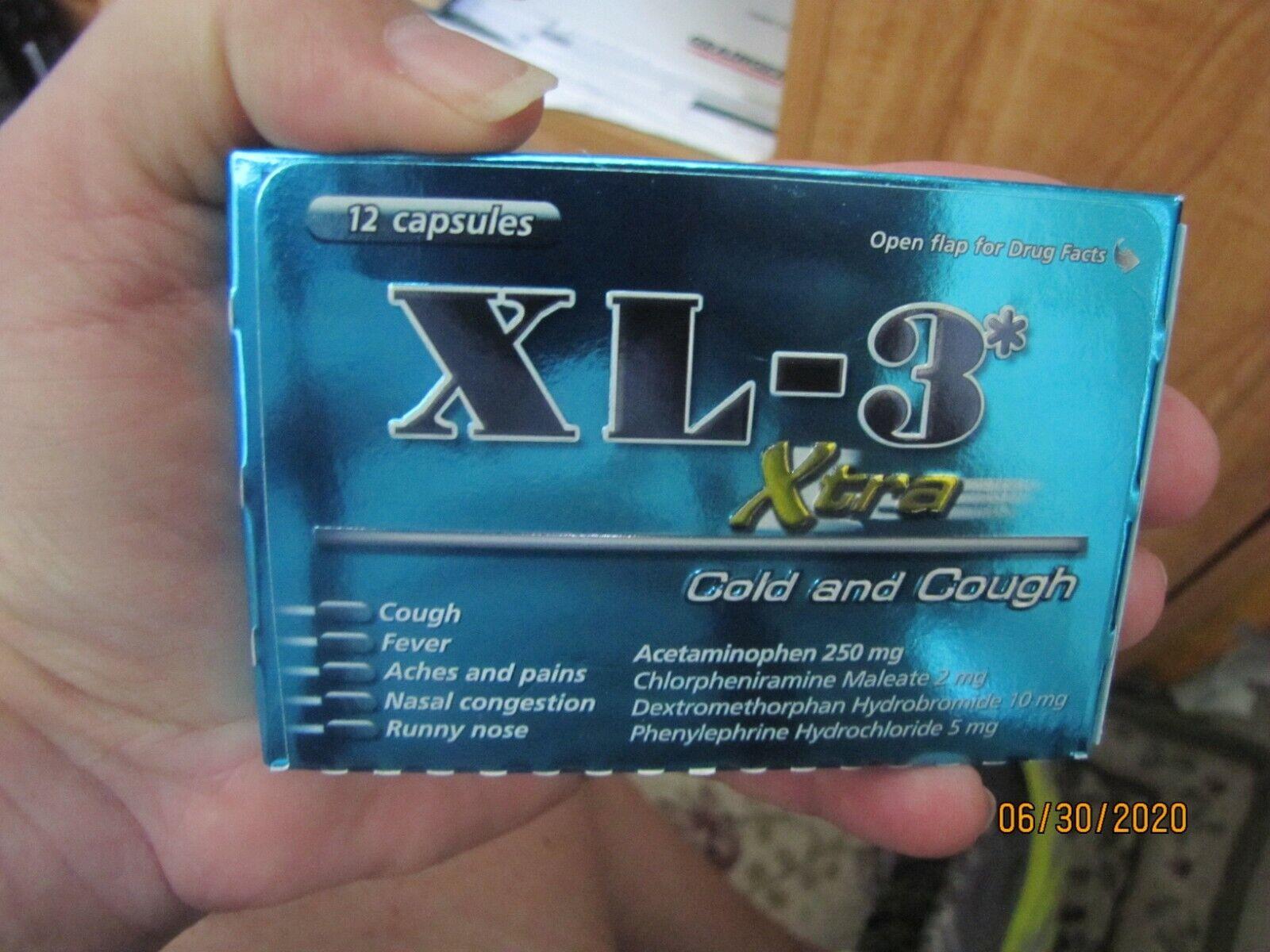 XL3 Xtra Cold & Cough 12 Capsules - Pastillas Para La Tos Y