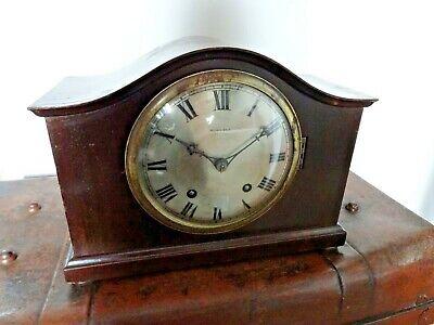 Antique Edwardian Morath Bros Mahogany Cased Mantel Clock -Chiming Key Pendulum