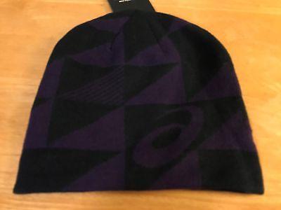 Mens Asics Reversible Knit Beanie NEW Black Purple ONE SIZE