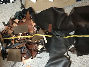 Box of Horween leather remnants.