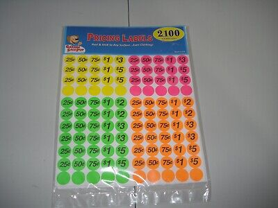 Garage Sale Pricing Labels 2100 Assorted