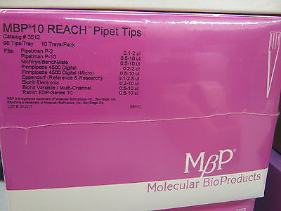 MOLECULAR BIO PRODUCTS MBP 10 REACH PIPET TIPS 3512 BOX OF 10 TRAYS OF 96 (Mbp 10 Reach Tips)