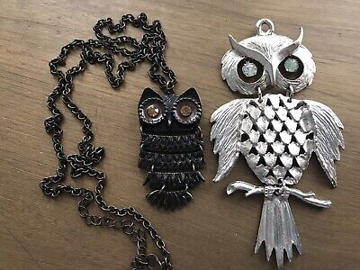 "Unbranded Owl Necklace Rhinestone Eyes & 4"" Long Silver Owl Pendent Exc"