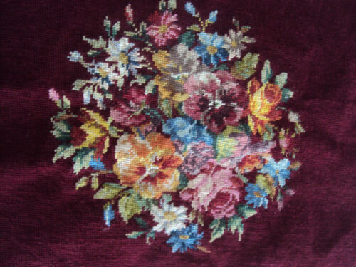 Vintage Completed Finished Needlepoint Bouquet Floral ~ Chair Pillow Cushion