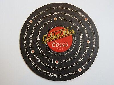 1983 bar Untersetzer ~ ~ Coors Gär Golden Oldies Musik Trivia ~<>~