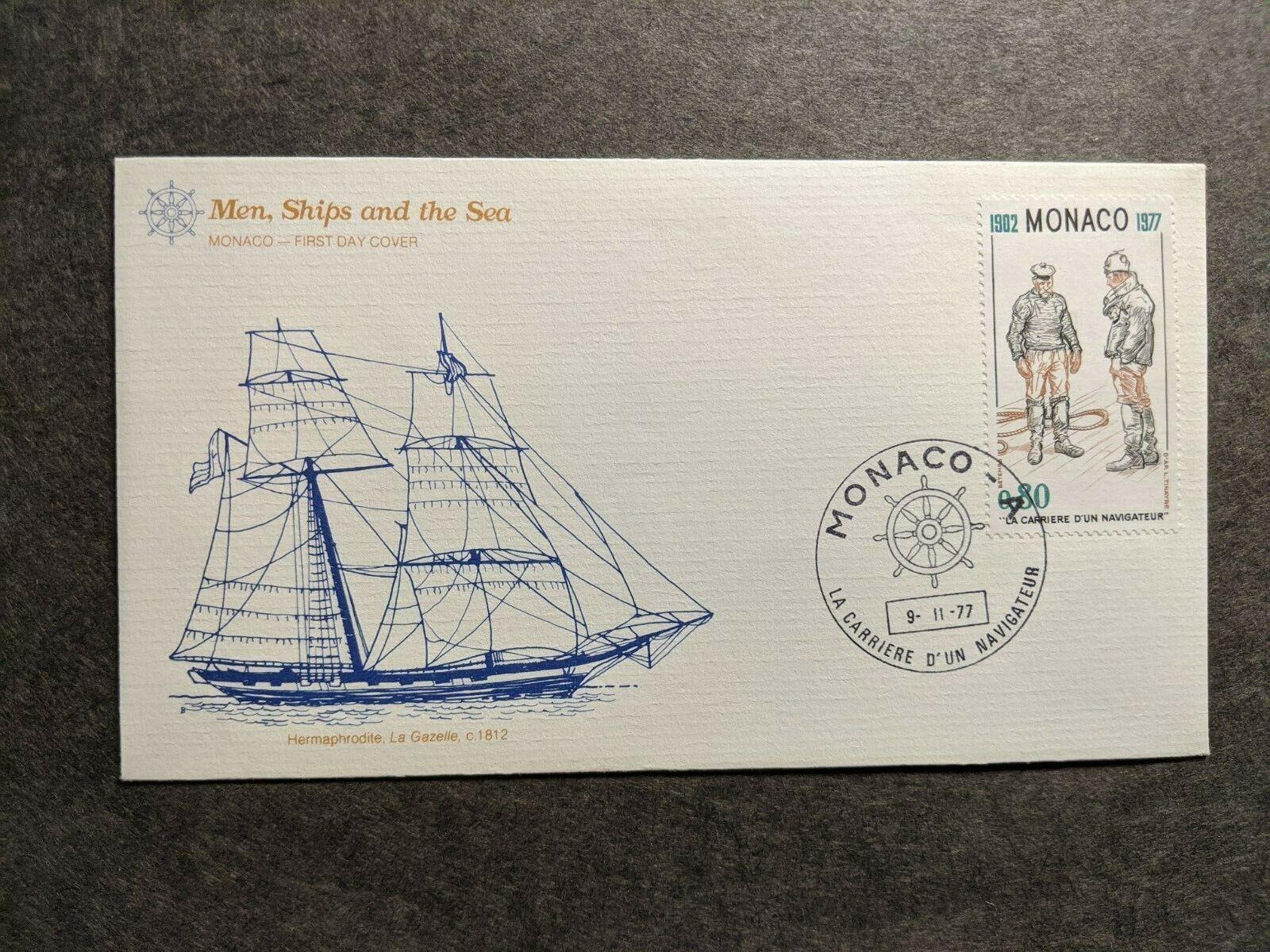 French Sailing Ship La GAZELLE Naval Cover 1977 FLEETWOOD Cachet MONACO - $9.99