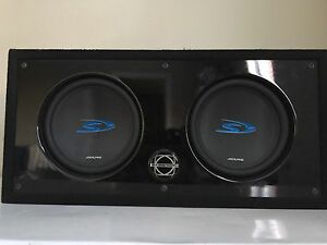 Two 10 inch Alpine S's with amp and wiring.
