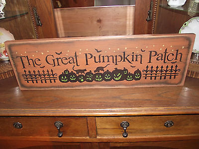 THE GREAT PUMPKIN PATCH    primitive wood sign halloween
