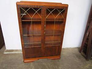 C38058 Vintage ART DECO Walnut Blackwood Display Cabinet Bookcase Mount Barker Mount Barker Area Preview