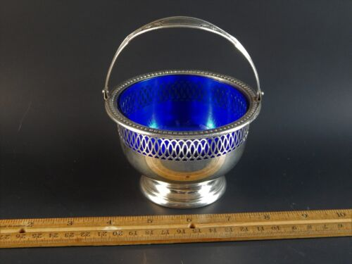 Vintage Wallace Sterling Silver Sugar Basket Swing Handle Cobalt Insert 4491-3
