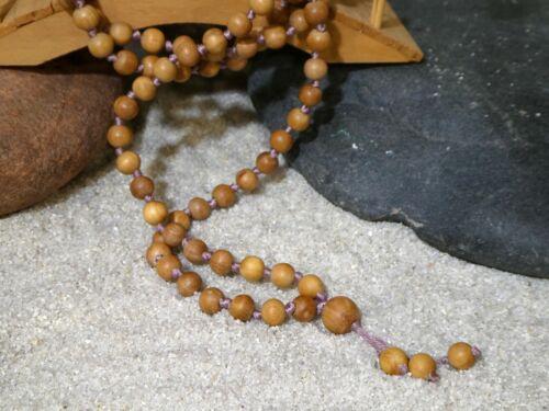 Sandalwood Mala Necklace • Mysore Sandalwood Mala • 7mm • Knotted Mala • 2916