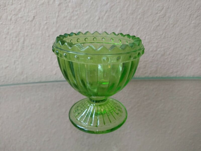 Antique Lime Green Glass Egg Cup