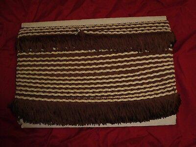 (0,68€/m) braun/creme Borte Fransen, Höhe ca. 5,5cm 25m auf einer Pappe
