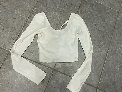 Womens White Abercrombie And Fitch Long Sleeve Crop